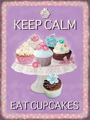 Vintage Metal Sign Plaque Keep Calm Eat Cupcakes Purple Kitchen Bakery Coffee