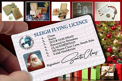 Santa Claus Lost Driving/Sleigh Licence Father Christmas Eve Key Box Gift