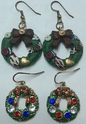 Lot Of 2 Pairs Of Holiday Christmas Wreath Multicolor Rhinestone Earrings