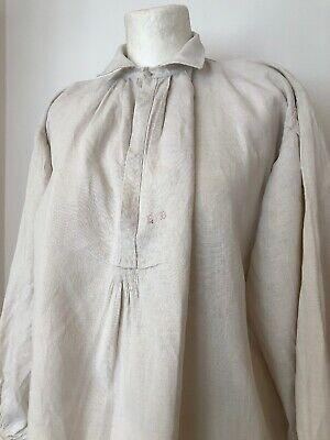 Vintage French Well Worn Linen Farmers Shirt EB Mongame