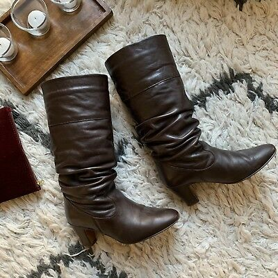 Beautiful Mid-Calf Chocolate Brown Leather Boots by French Bootmaker André 4/37