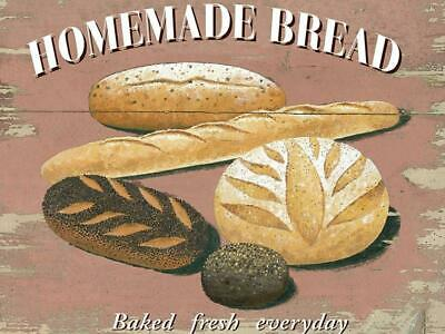 Vintage Metal Sign Plaque Homemade Bread Bakery Patisserie Kitchen Wall Decor
