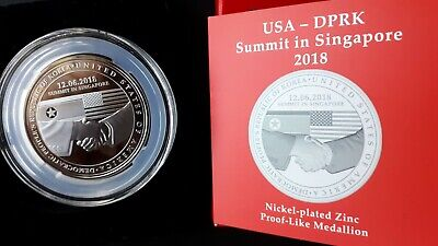2018 Singapore United States - Korea Summit Proof-like Medallion  w.box