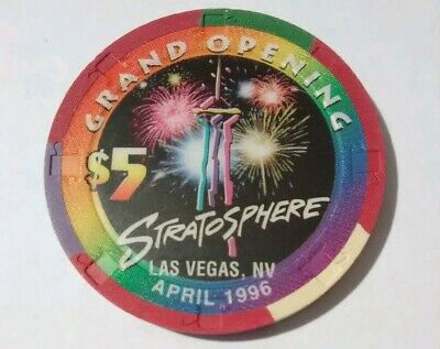 1996 Stratosphere Casino Las Vegas Nevada Hard To Find $5.00 Grand Opening Chip!