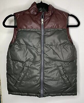 The Childrens Place Boys Reversible Puffer Vest Small 5/6 Maroon Gray
