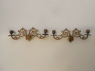 Antique Solid Bronze Pair Gilded Piano Sconces Wall Candle Holder Victorian