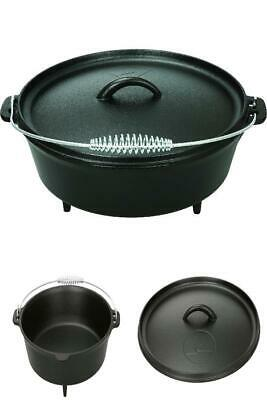 5 Quart Dutch Oven and Lid Pre Seasoned Cast Iron Pot Bake Fry Stew Cooking Food