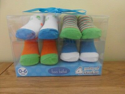 NEW BOXED: From BON BEBE 4 PAIRS OF BOY BABY SOCKS Age 0-6 MONTHS - Nice Gift