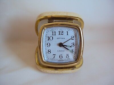 Vintage Estyma 2 Jewels Travel Alarm Clock Made In Germany Working