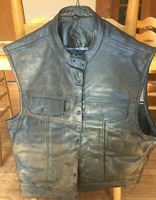 "Xelement Men's ""Quick Draw"" Black Leather Motorcycle Vest XXL"