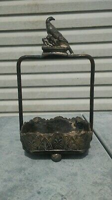 Antique Meridian Silver Plated Co. Trinket Box With Eagle Ornate
