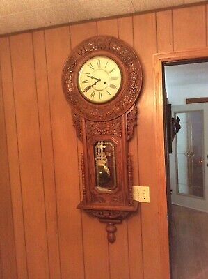 Very Large America Regulator Wall Clock Oak Case Key Wind Chimes Runs