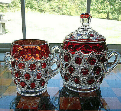 Antique EAPG Red Block Ruby Stained Glass Covered Sugar & Spooner