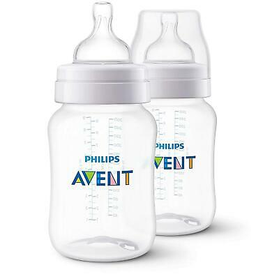 2 x Philips Avent Classic+ Feeding Bottle 260ml (1m Anti Colic Slow Flow Teat