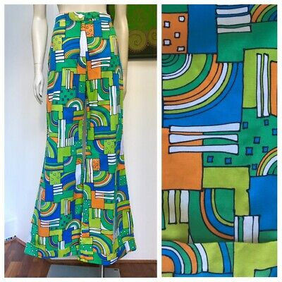 70's Vintage psychedelic FLARED pants and matching top M