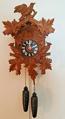 Antique 8 Days Black Forest Bird Nest Cuckoo Clock in perfect condition