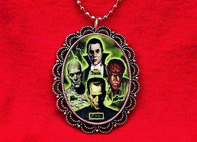 Dracula Mummy Wolfman Frankenstein Monsters Necklace
