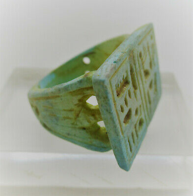 Beautiful Ancient Egyptian Glazed Faience Ring With Heiroglyphics