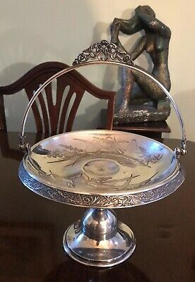 Antq Meriden Britannia Co Silverplate Footed Serving Dish Butterflies 843gr