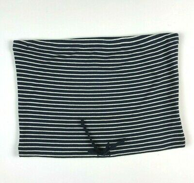J. Crew szS Cropped Tube Top Striped Blue White Drawstring Stretch