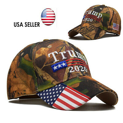 Trump 2020 Hat Camouflage Embroidered Keep America Great Cap USA Flag MAGA New