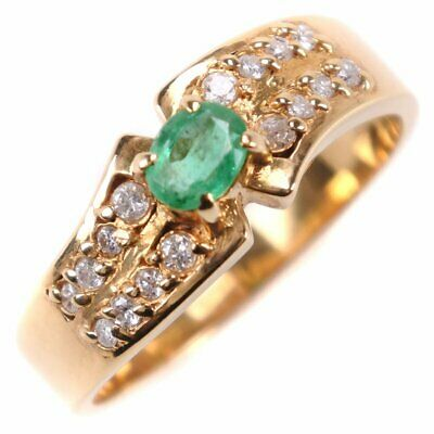 AUTHENTIC  Ring K18 yellow gold/Emerald/diamond #10.5(JP Size) Women