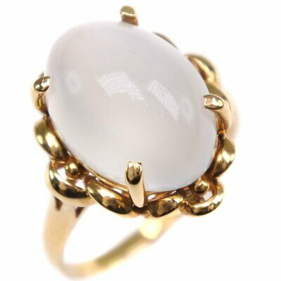 AUTHENTIC  Ring K18 yellow gold/Moonstone #12(JP Size) Women