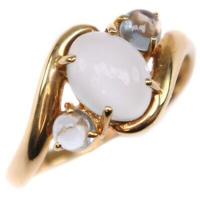 AUTHENTIC  Ring K18 yellow gold/Moonstone #14(JP Size) Women