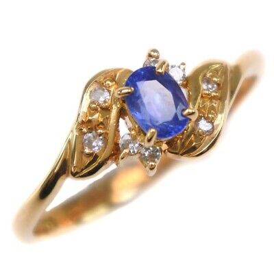 AUTHENTIC  Ring K18 yellow gold/sapphire/diamond #7.5(JP Size) Women