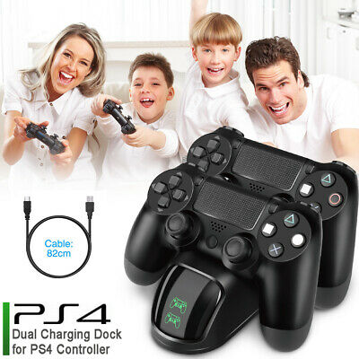 PS4 Dual Controller Gamepad Fast Charger Charging Dock Station Stand + Cable UK