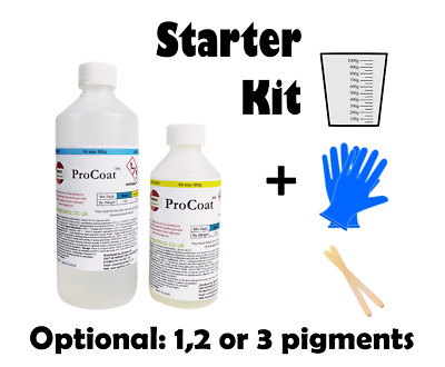 Epoxy Resin Starter Kit Art Clear Pearlescent Colour Pigments 2:1 Ratio FastCure