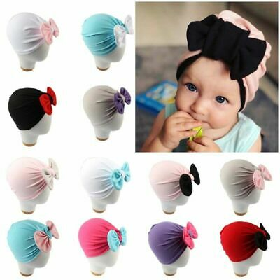 Newborn Toddler Infant Baby Soft Hat Turban Head Wrap Bowknot Beanie Warm Cap