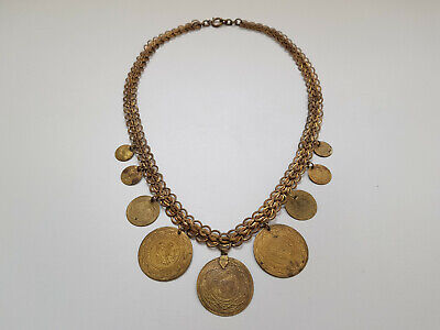 Antique VICTORIAN Mercury Gilt Gilded LARGE Necklace with 9 Ottoman COINS 1905