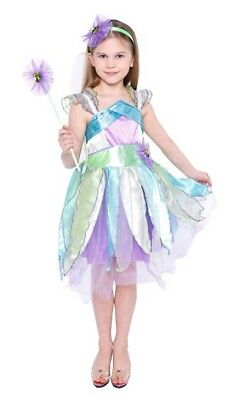 Girls Multi Coloured Fairy Outfit w/Headband,Wand &Wings Dress Up Role Play BNWT