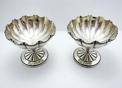 Beautiful Rare Pair Solid Sterling Silver Sundae Ice Cream Dishes Cups Art Deco
