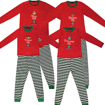 Family Christmas Matching Pyjamas Elf Pajamas Kids Boys Xmas Pjs Girls Nightwear