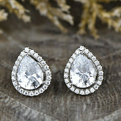 0.69 cts 10K White Gold Natural Black Diamond Drop Pear Shaped Solitaire Stud Earrings