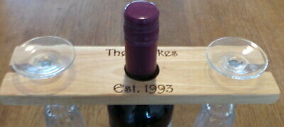 Personalised Wooden Wine Bottle / Glasses Holder - Any message