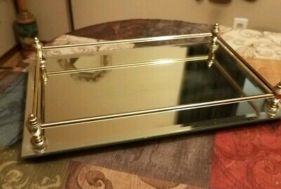 FINE Vintage Large MIRRORED VANITY PERFUME Tray~ART DECO Style w/BRASS Rods!