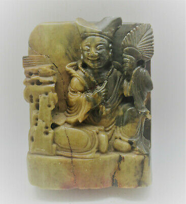 Superb Antique Chinese Jade Stone Carving Of Seated Buddha Very Beautiful