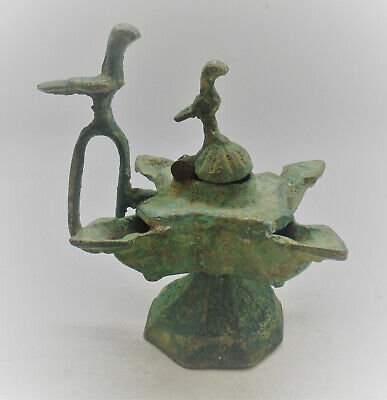 Scarce Circa 1200-1300Ad Ancient Islamic Four Pronged Bronze Oil Lamp With Birds