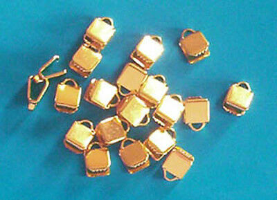 40 gold plated small (5mm) clasps/clamps for ribbon, findings for jewellery