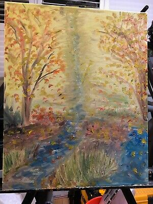 "Fine Impressionistic Oil Painting by Artist M.J.Grimaldi Called ""Autumns Fall"""