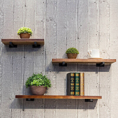 UK Bookcase Wood Board Living Room Storage Rack Floating Wall Shelf Space Saving