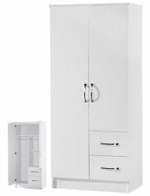 Marina High Gloss White  Combi Wardrobe 2 Door 2 Drawer - Bedroom Furniture