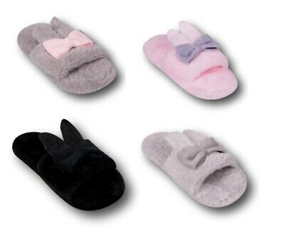 Girls Women Ladies Children Soft Light Bow Indoor Slippers Size 2-8 Grey Pink