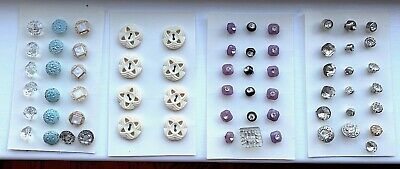 Lot of 64 Vintage Rhinestone Glass Plastic Sewing Buttons