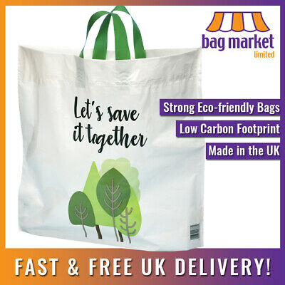 Strong 'Bag for Life' Large Flexi-loop Handle Carriers | 90% Recycled UK Plastic