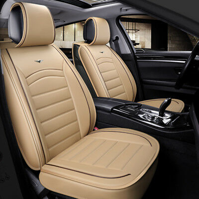 Deluxe Beige PU Leather Look Seat Covers Padded For Ford Focus Fiesta Kuga C-Max