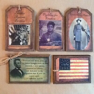 5 HANDCRAFTED Wooden PRiM July 4th  Hang Tags/Ornaments SETh
